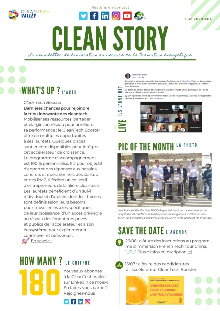 newsletter clean story cleantech vallée cleantech booster
