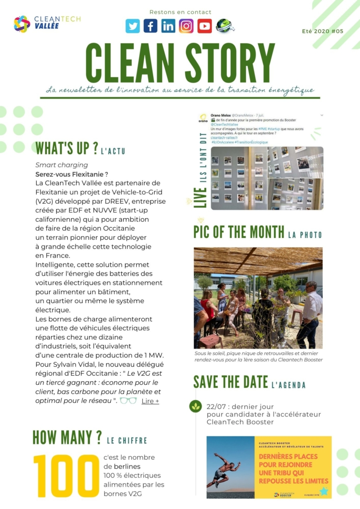newsletter clean story cleantech vallée éco-industries